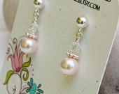 Annabella ...petite pearl and crystal earrings