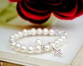 Christening ... baby toddler girl baptism christening flower girl freshwater white pearl bracelet