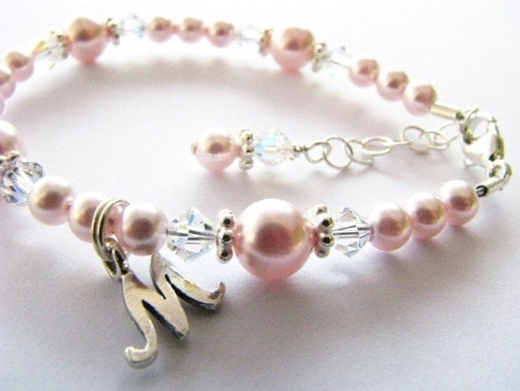 Baby bracelet with an initial...flower girl baby newborn  toddler girl personalized light pink pearl and crystal bracelet