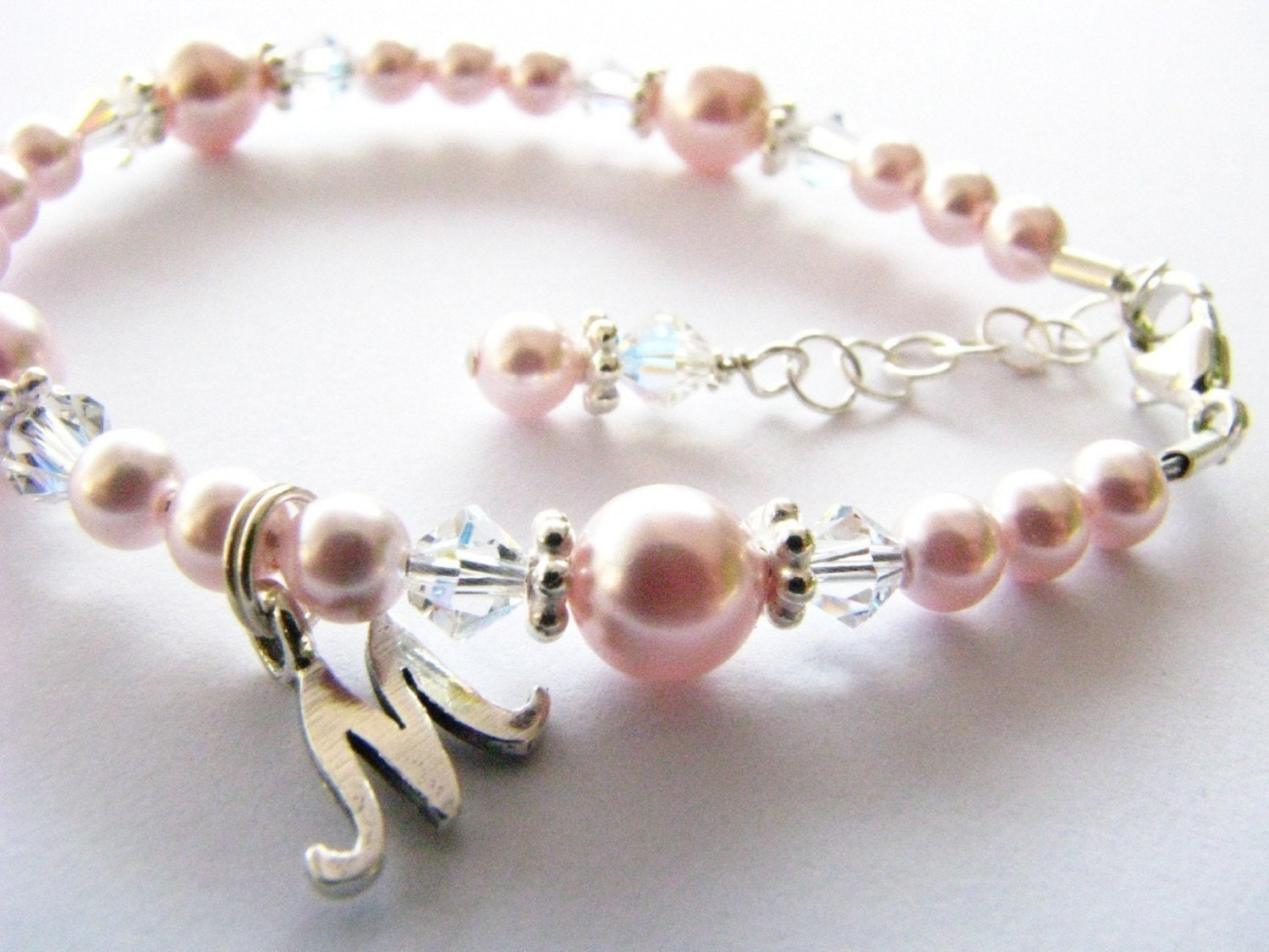 Baby Gift Baby Bracelet With An Initial Flower Girl Baby