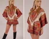 Vintage 70s Cream ETHNIC DASHIKI Tunic Top