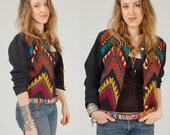 RESERVED for fiendishlove Vintage 80s Southwestern Jacket ZIG ZAG Tribal Crop Small