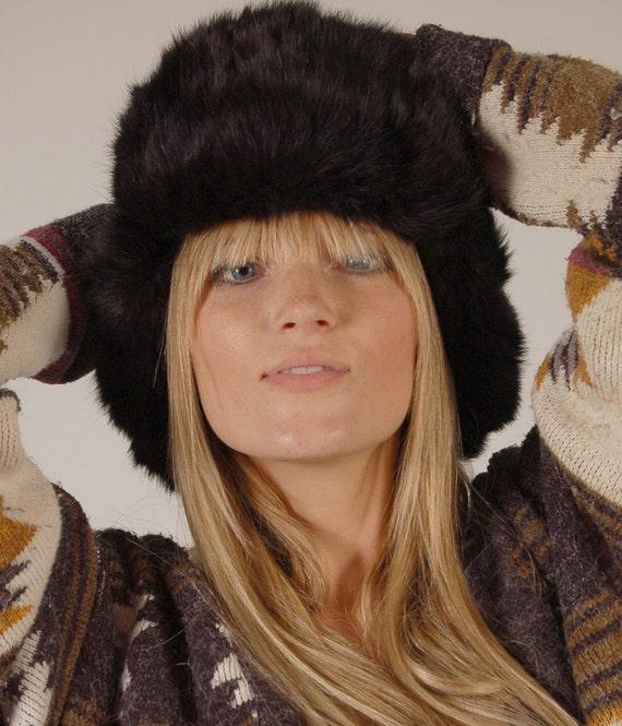 Reserve for movementsofhumanbody Black RABBIT FUR Russian Trapper  Hat