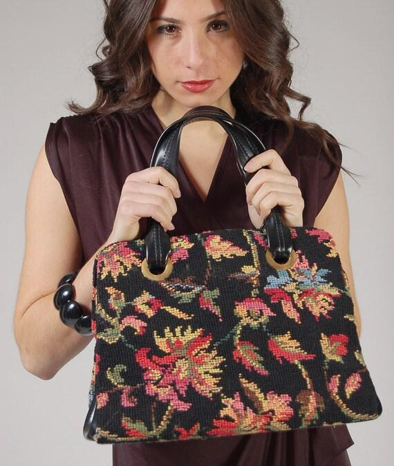 Vintage 60s TAPESTRY Handbag Needlepoint FLORAL Oversized