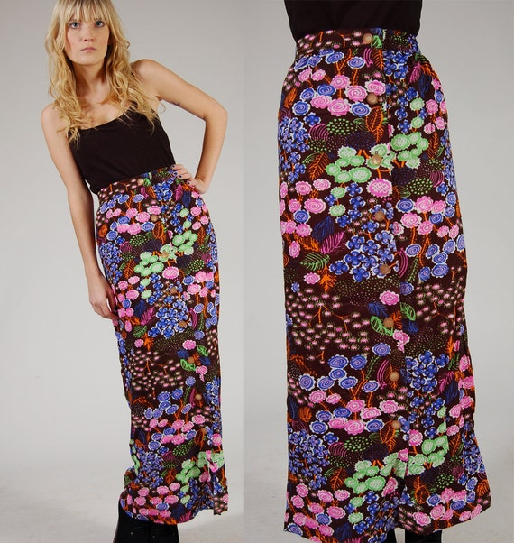Vintage 70s Psychedelic MAXI Skirt Bright RAINBOW Floral Small