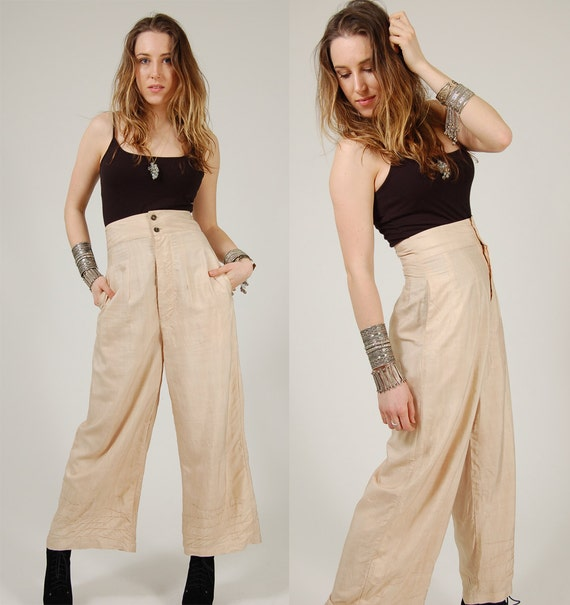 Vintage Pants HIGH WAISTED Cream SILK Trouser Small