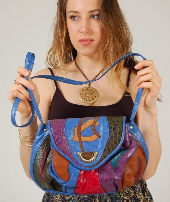 Vintage 80s Leather Handbag Multi Color PATCHWORK  Purse