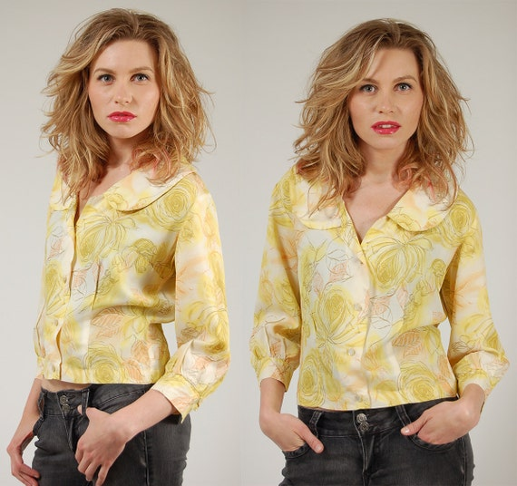 Vintage 50s Blouse YELLOW Floral Print w/ PETER PAN Collar