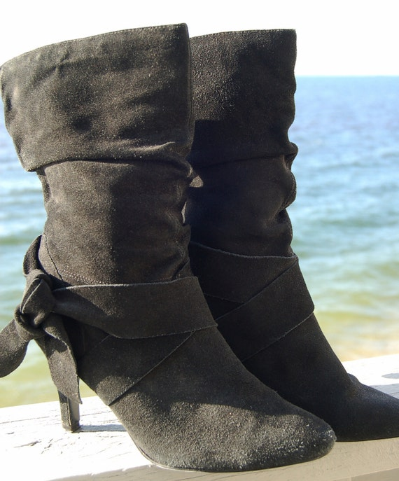 Vintage 80s Leather Boots Black Suede SLOUCH w/ Boot Strap Size 7.5