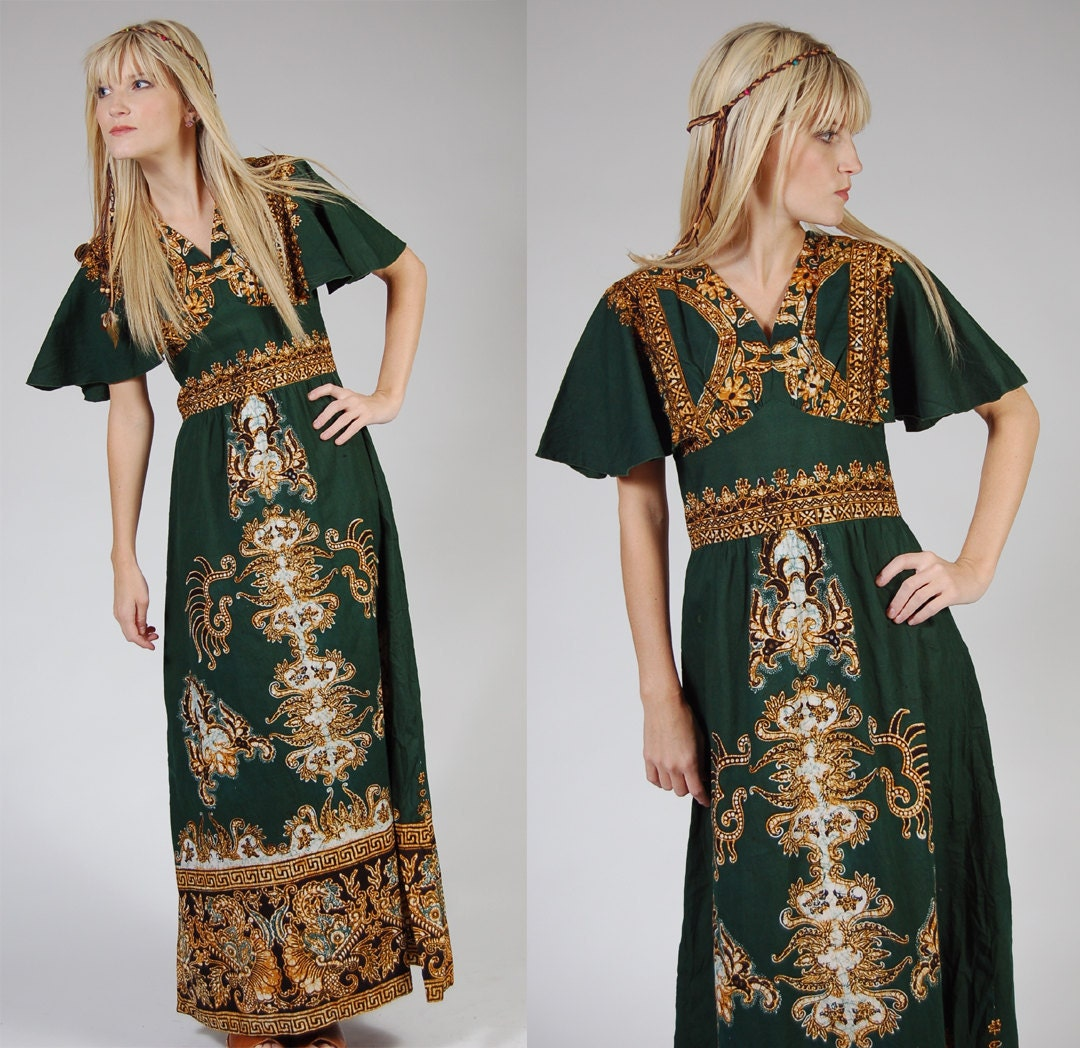 Green BATIK DRAGON Maxi Dress Vintage 70s TIBET Boho Caftan