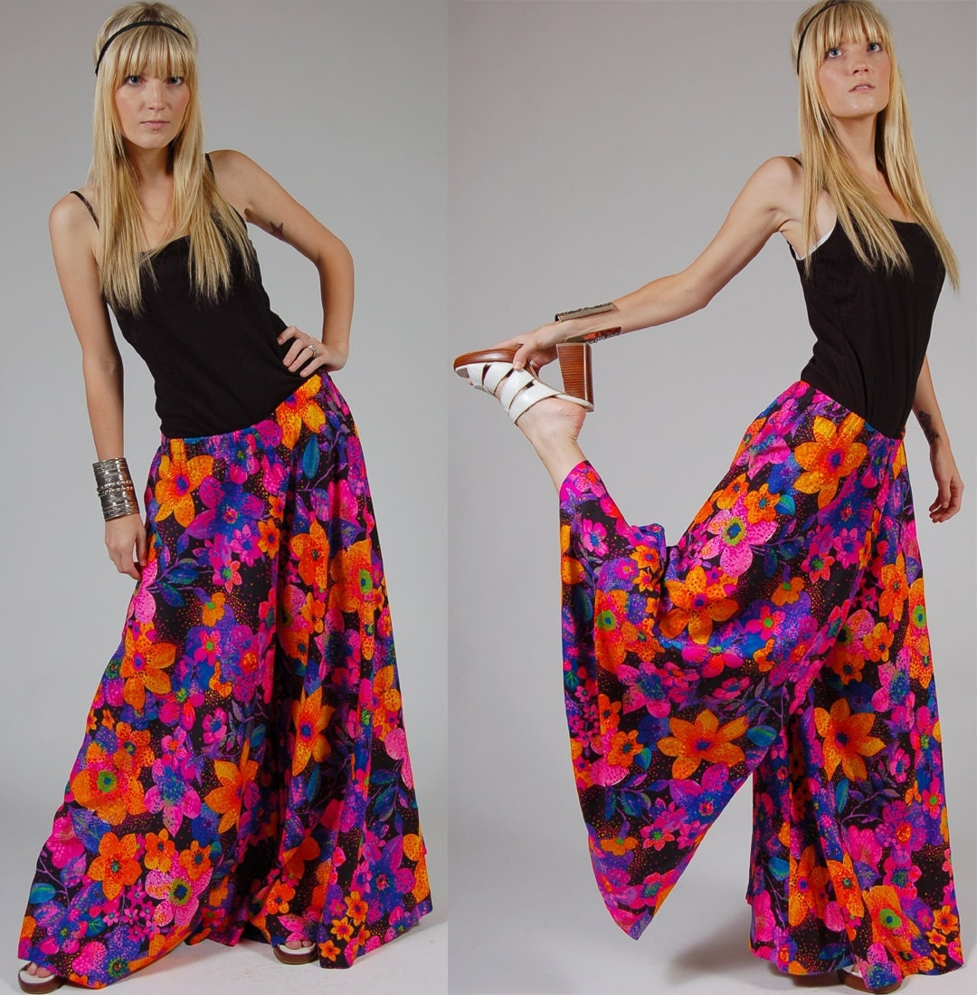 Reserved Vintage Palazzo Pants Bright Floral Leslie Fay