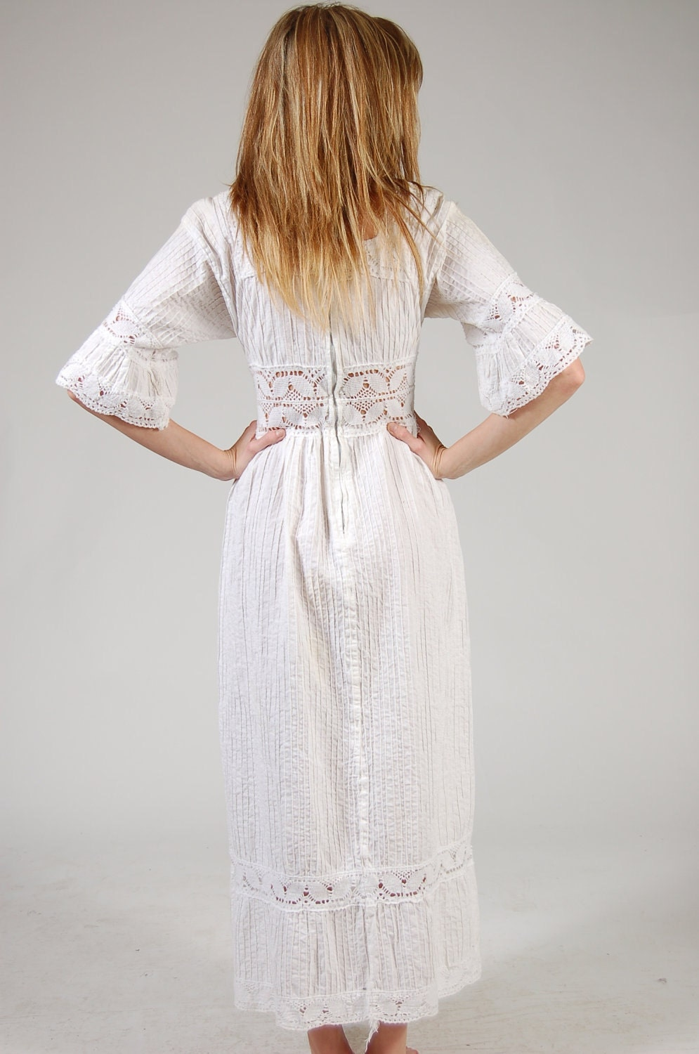 Vintage 70s Mexican Wedding Dress White Crochet By
