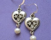 Floral Heart Freshwater Pearl Earrings
