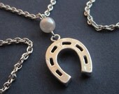 Lucky Horse Shoe Necklace with Faux Pearl Charm