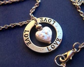 Love--Freshwater Pearl Heart and Stamped Ring Necklace