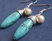 Silver Wire Wrapped Turquoise and Glass Pearl Earrings