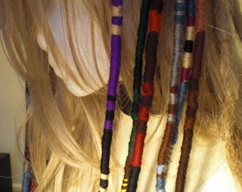 "Any Colors Custom Yarn Hair Wrap Long 40"" 50"" Striped Extension Double Ended Atebas Rainbow Stripe Scarf Necklace Headband OOAK Unique Gift"