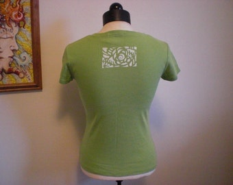 50% off Spring Green Tee w/ Hand Painted Pine Cone Spiral Stencil XS Small Womens / Childrens XL Large