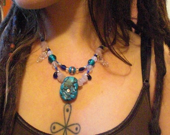 Glass Turquoise and Blue & White Stone Two Tiered Beaded Necklace Unique OOAK Handcrafted Teal Glass Bead Stone Chip Talisman Gift