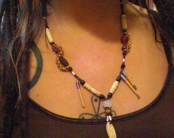 Foxfire Tribal Earth Warrior Bone Wood & Glass Beaded Asymmetrical Necklace Handcrafted Unique One of a Kind Pirate Button Talisman Collar