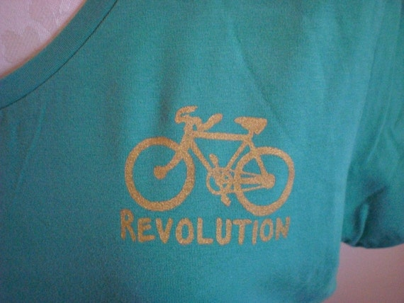 50% Off Clearance Green Gold Bike Revolution Print V Neck Stretch Tee - L / XL Upcycled Recycled Tshirt Vneck OOAK