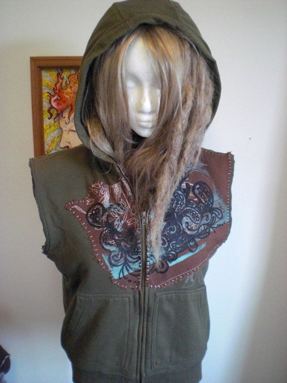 30% Off Olive Drab Printed Patch Forest Hoodie Vest Fleece Lined Mens Small Womens Large Medium M Eco Upcycled Hand Sewn OOAK Unique Hurley