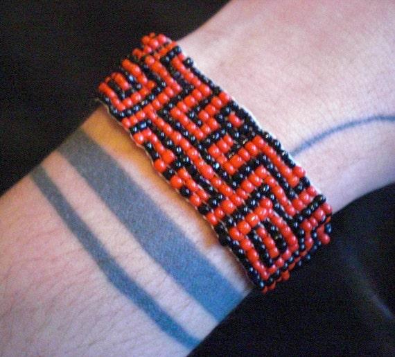 Shipibo Pattern Tribal Beaded Loom Woven Seed Bead Bracelet Handmade OOAK Psychedelic Ayahuasca Vision Peruvian Amazon Jungle Black & Red