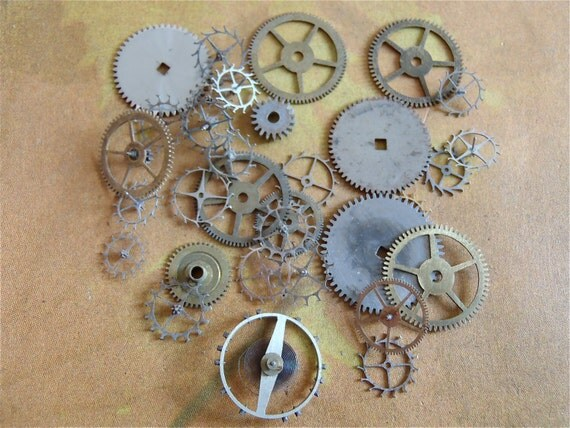 Vintage WATCH PARTS Antique Watch parts gears- Steampunk -  LL27  You will recieve all the items you see in the picture