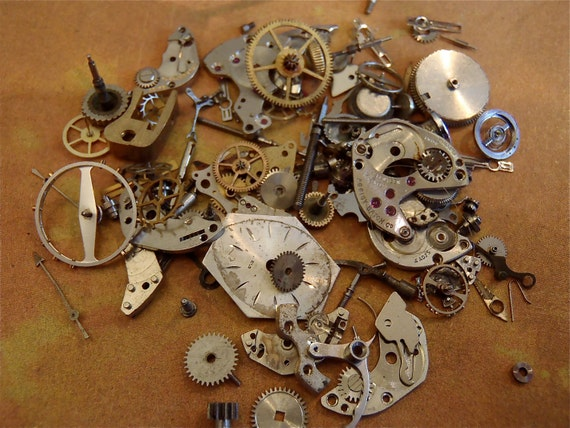 Vintage WATCH PARTS gears - Steampunk parts - LL83 Listing is for all the watch parts seen in photos