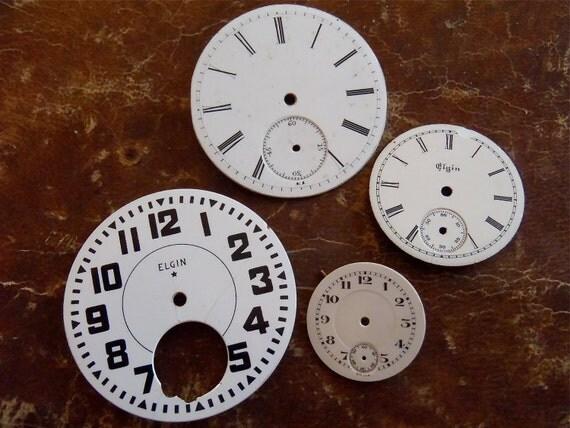 Vintage Antique porcelain pocket Watch Faces - Steampunk - Scrapbooking S83