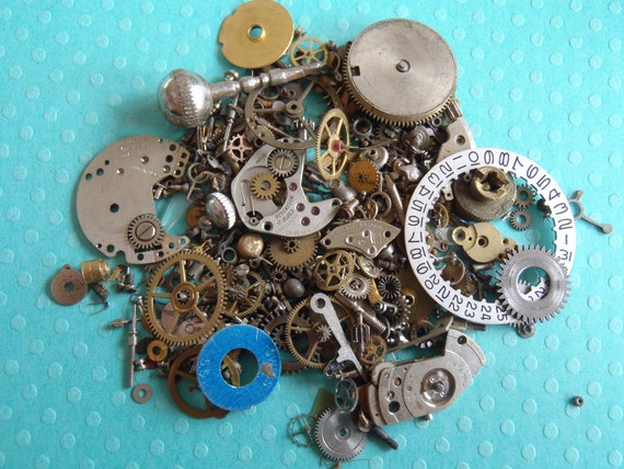 Vintage WATCH PARTS gears - Steampunk parts - P18 Listing is for all the watch parts seen in photos
