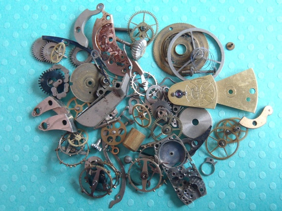 Vintage WATCH PARTS gears - Steampunk parts - S2 Listing is for all the watch parts seen in photos