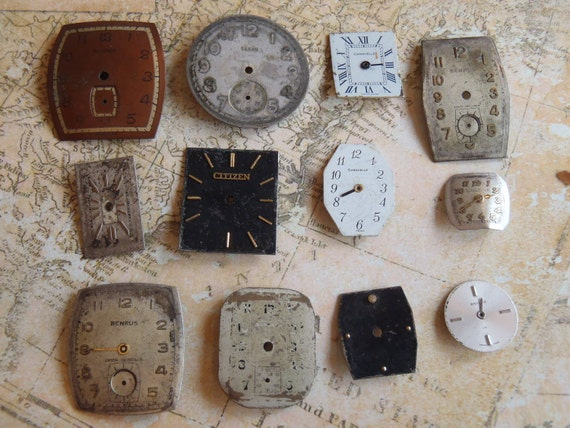 Vintage Antique Watch  Assortment Faces - Steampunk - Scrapbooking y79