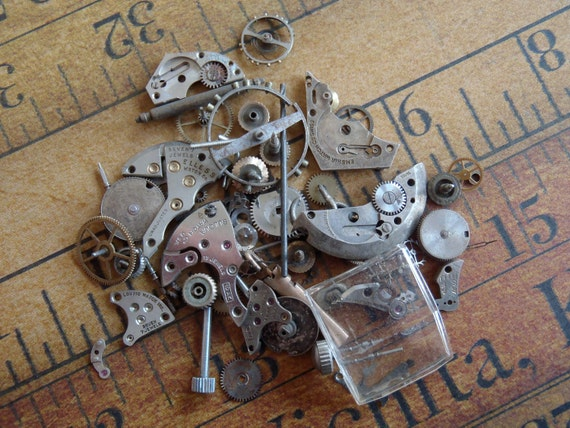 Vintage WATCH PARTS gears - Steampunk parts - T8 Listing is for all the watch parts seen in photos
