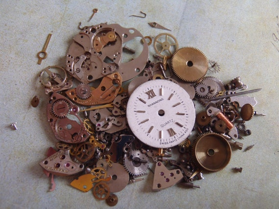 Vintage WATCH PARTS gears - Steampunk parts - D1 Listing is for all the watch parts seen in photos