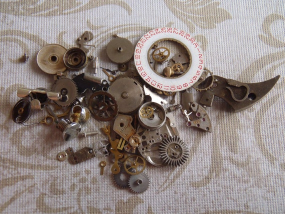 Vintage WATCH PARTS gears - Steampunk parts - D5 Listing is for all the watch parts seen in photos