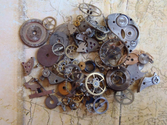 Vintage WATCH PARTS gears - Steampunk parts - t42Listing is for all the watch parts seen in photos