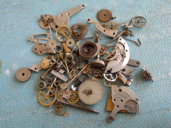 Vintage WATCH PARTS gears - Steampunk parts - j1 Listing is for all the watch parts seen in photos