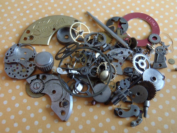 Featured - steampunk watch parts -Vintage WATCH PARTS gears - Steampunk parts - H76 Listing is for all the watch parts seen in photos
