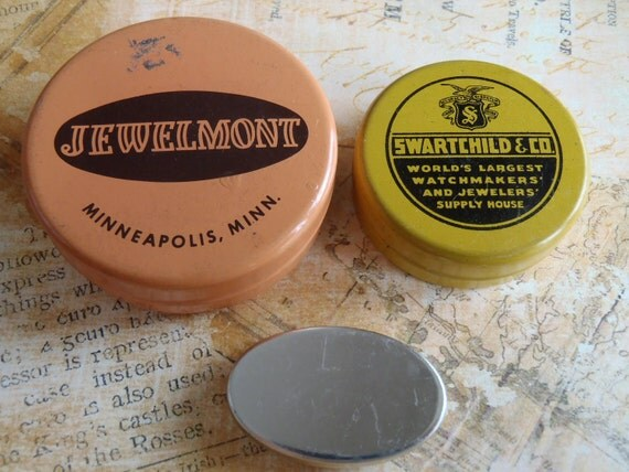 Vintage tin watch part containers to hold your embellishments - Steampunk - Scrapbooking P92