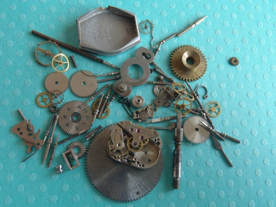 Vintage WATCH PARTS gears - Steampunk parts -B18 Listing is for all the watch parts seen in photos