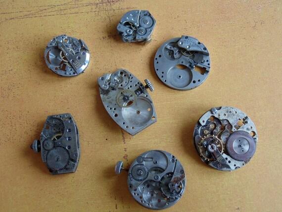 Steampunk Watch parts - Steampunk supplies - Vintage Antique Watch movements parts Steampunk - Scrapbooking M76