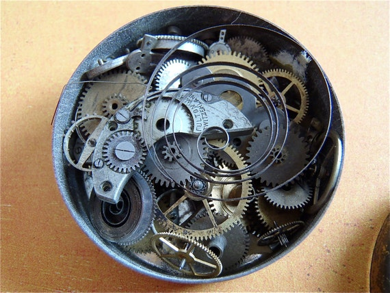 Featured - Vintage WATCH PARTS gears in a vintage parts tin- Steampunk parts - B48 Listing is for all the watch parts seen in photos