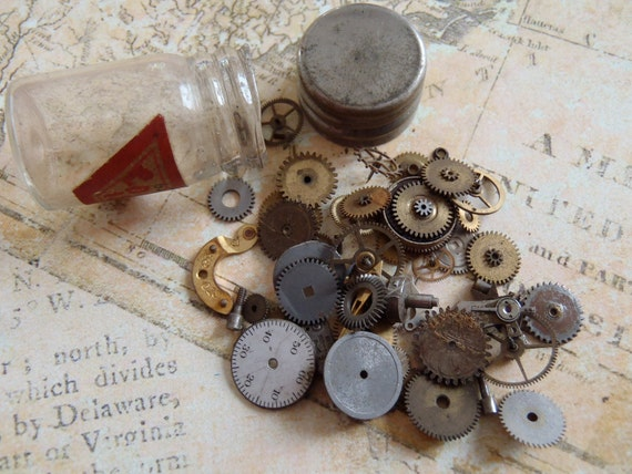 Vintage WATCH PARTS gears - Steampunk parts - v4 Listing is for all the watch parts seen in photos