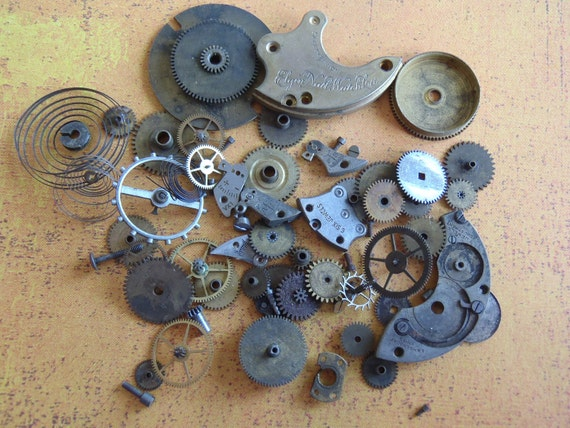 Vintage WATCH PARTS gears - Steampunk parts - M2 Listing is for all the watch parts seen in photos