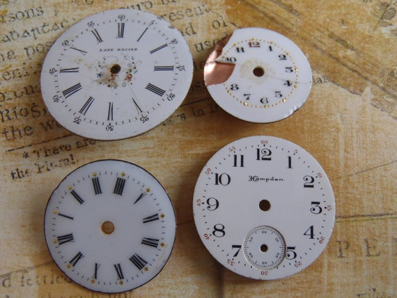 Vintage Antique porcelain pocket Watch Faces - Steampunk - Scrapbooking g7