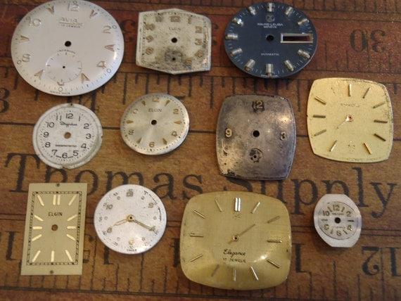 Vintage Antique Watch  Assortment Faces - Steampunk - Scrapbooking w5