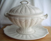 large White Vintage Ironstone Soup Tureen