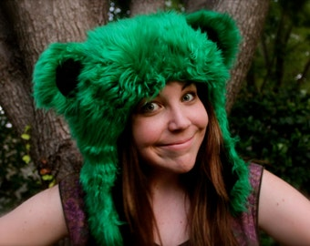 "Green Furry Grateful Dead ""Dancing Bear"" Hat"
