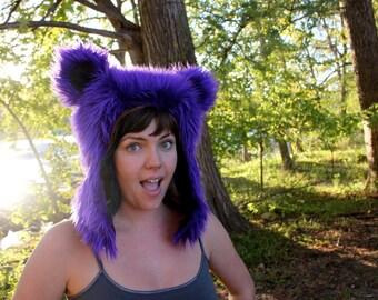Purple Furry Bear Hat - Grateful Dead Dancing Bear